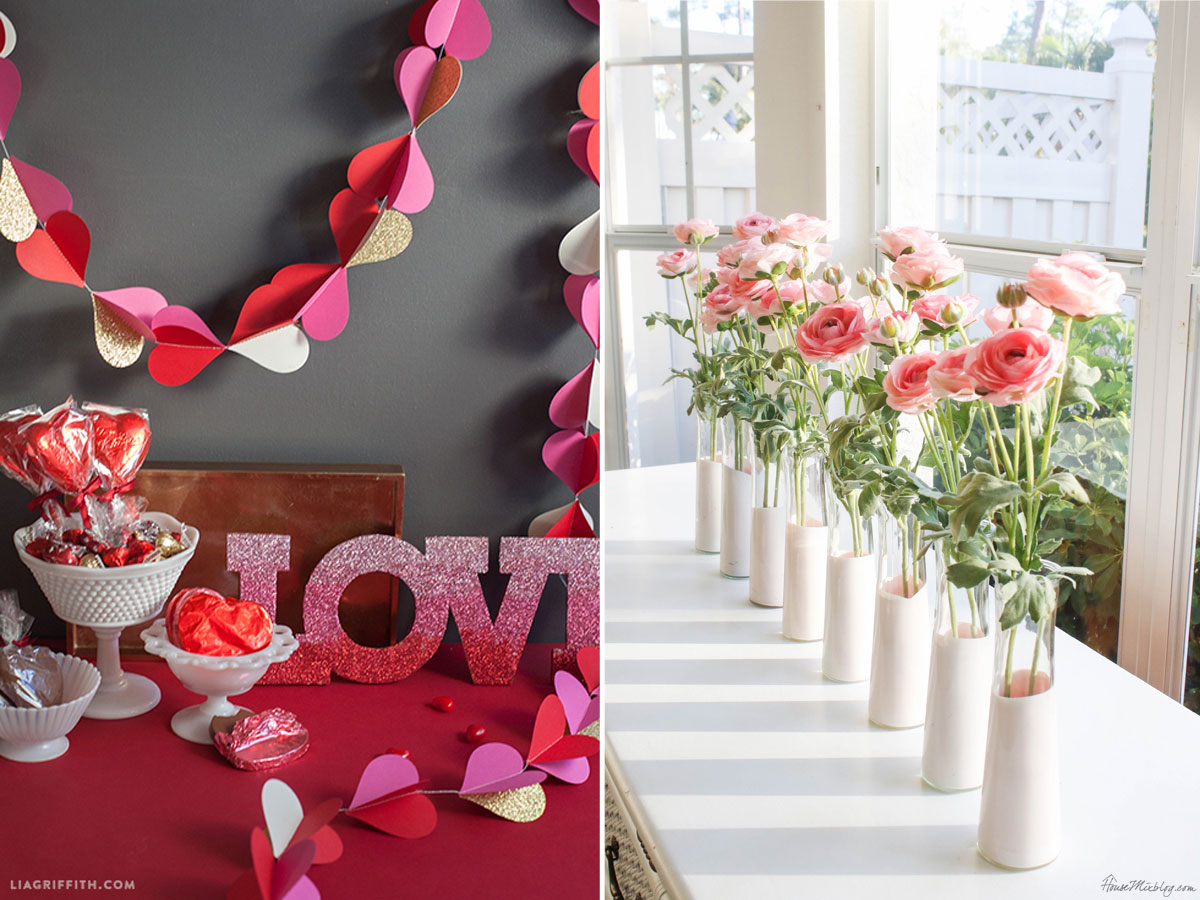 Paper heart garland and dip dyed vases for Valentines