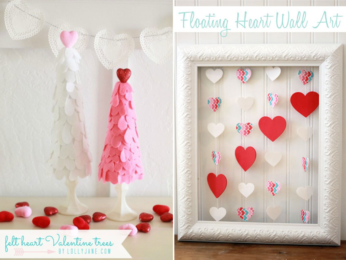 Valentine\'s day trees made with felt hearts; photo frame with colorful hearts strung inside it