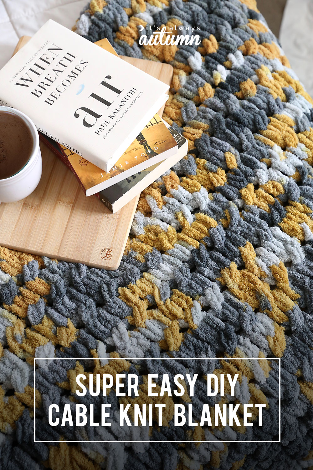 DIY cable knit blanket on a bed