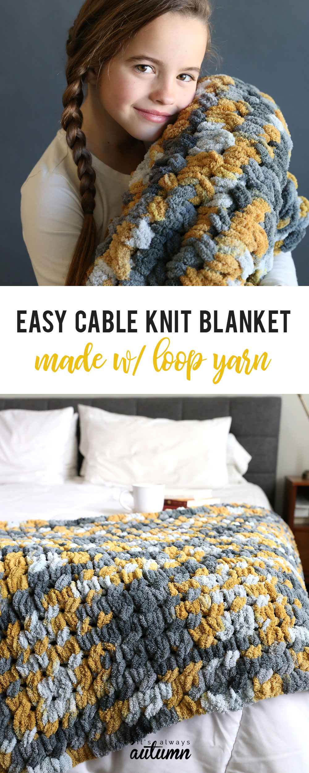 Girl snuggling with easy cable knit blanket made with loop yarn