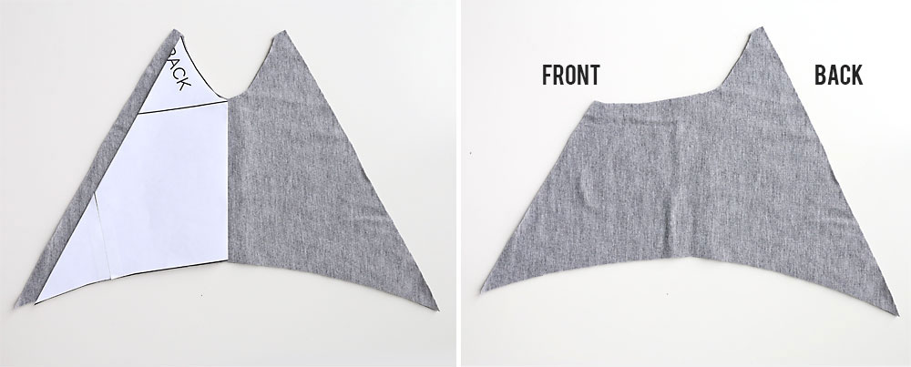 Contrast shoulder pieces cut from lighter grey fabric