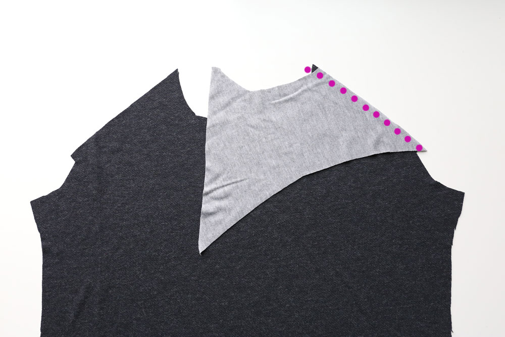 Shirt front piece with contrast shoulder piece pinned to it
