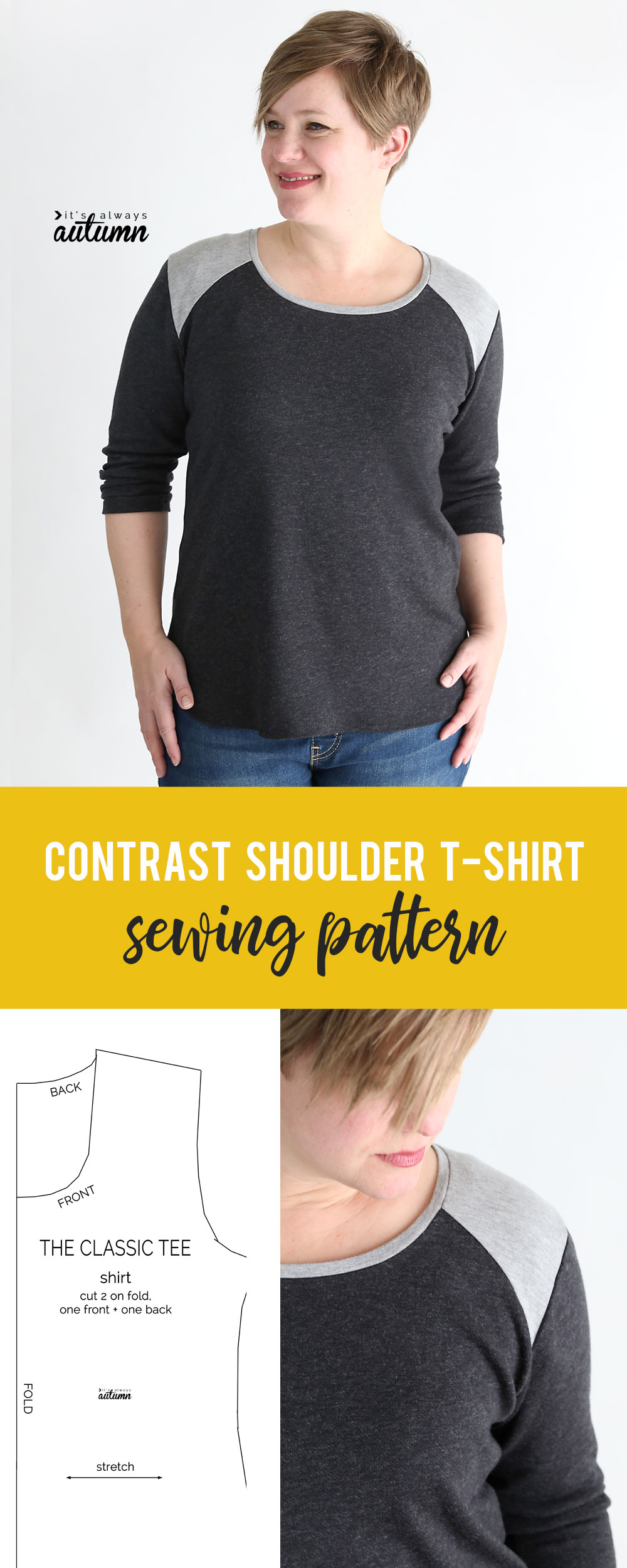 Woman wearing shirt made from the contrast shoulder t-shirt sewing pattern