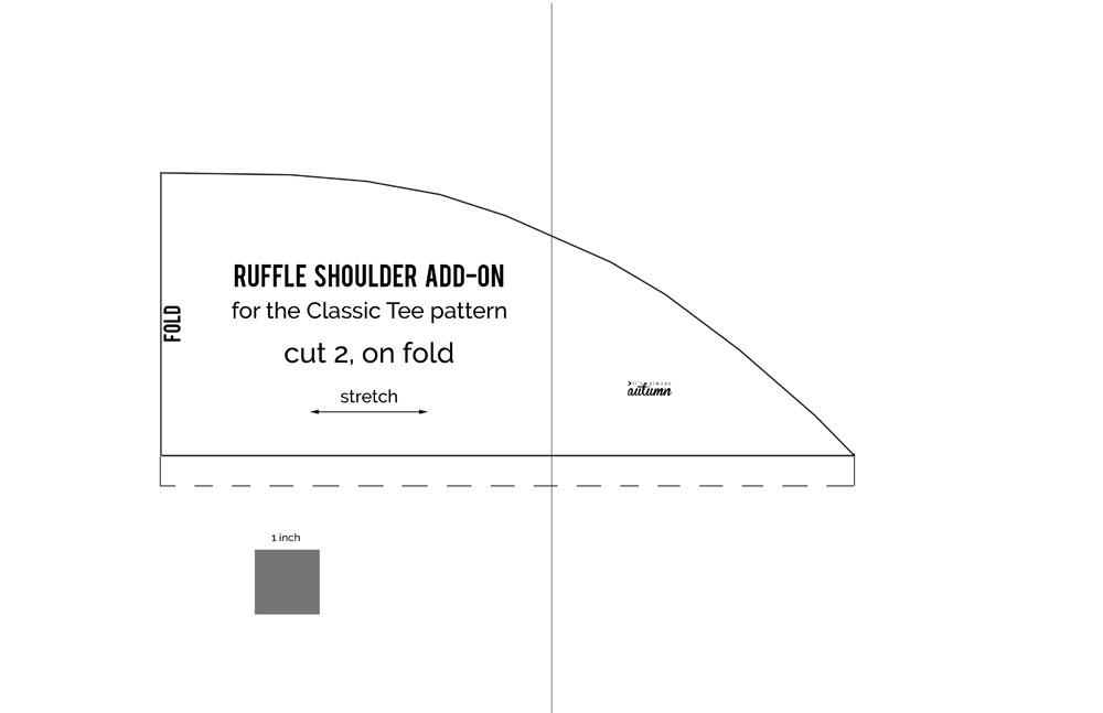 Ruffle shoulder pattern piece diagram
