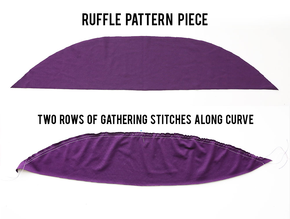 Ruffle pattern piece with gathering stitches along the curve
