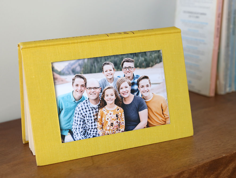 Book made into a picture frame