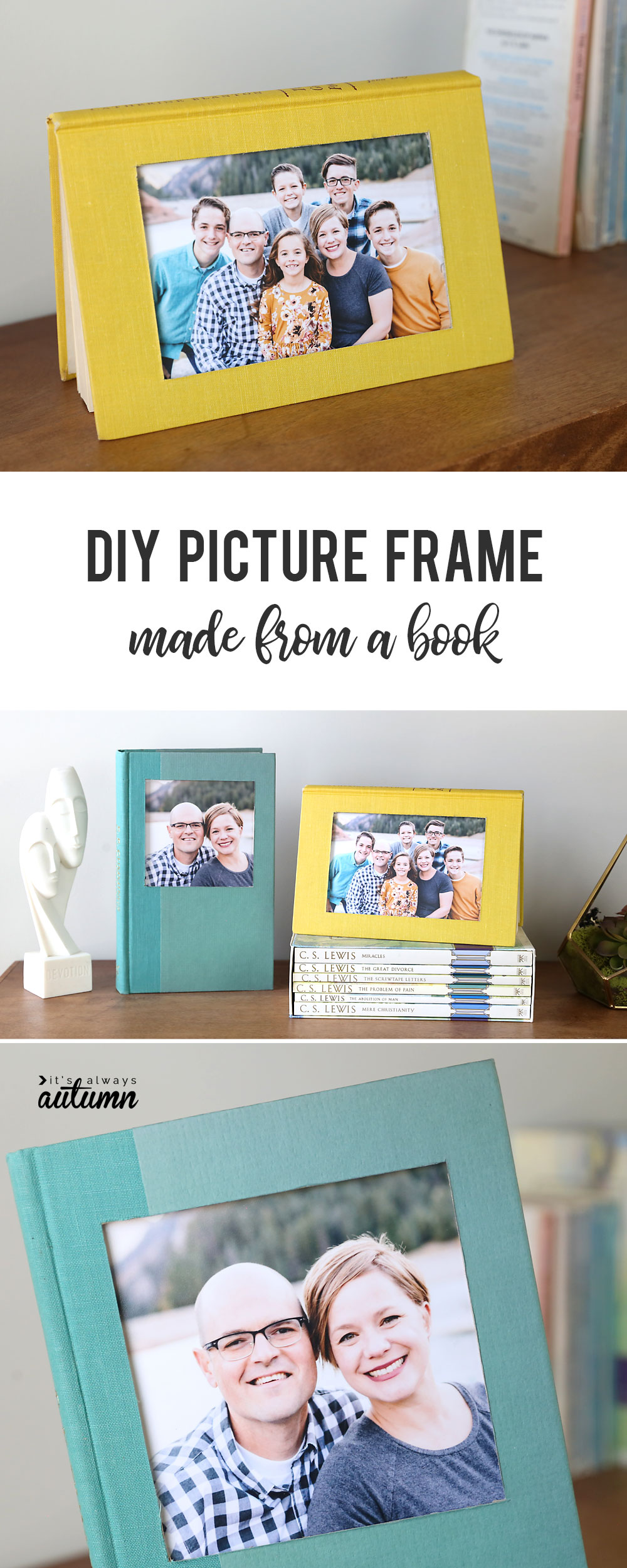 DIY picture frame made from a book