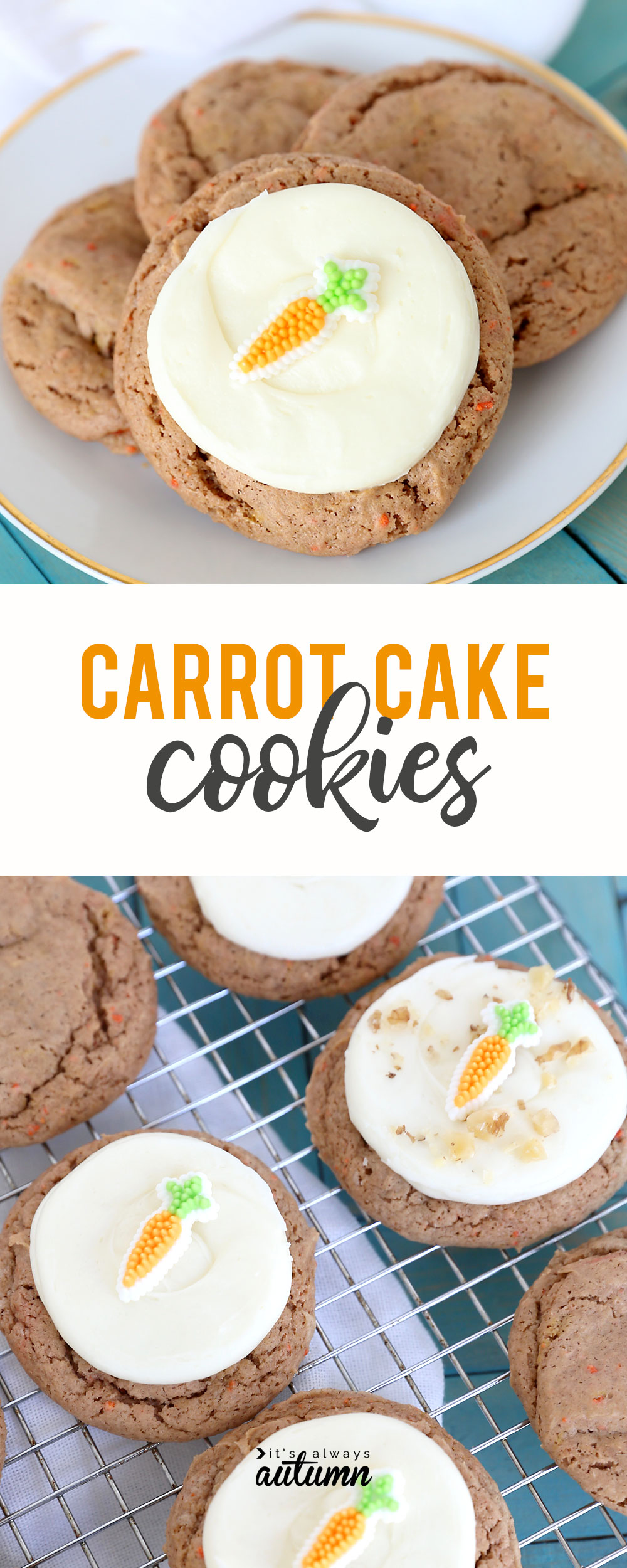 These carrot cake cookies bake up so soft and delicious! And they're super fast because you start with a cake mix.