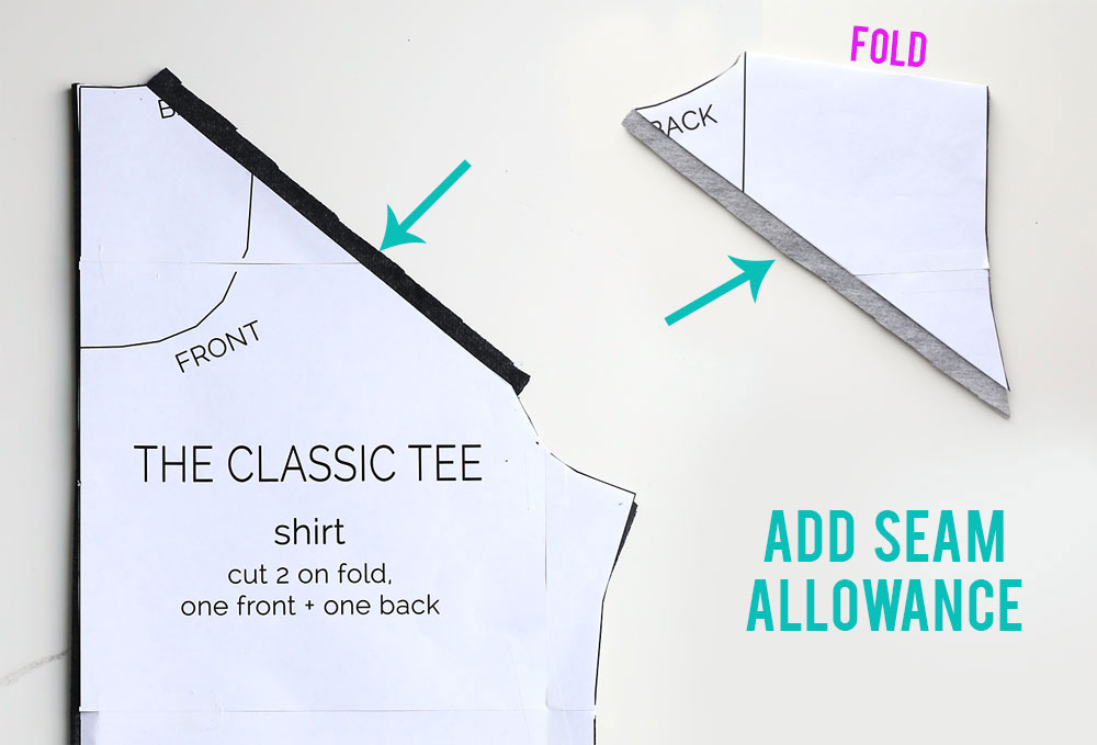 The Classic Tee sewing pattern sliced diagonally from the neckline to the lower armscye