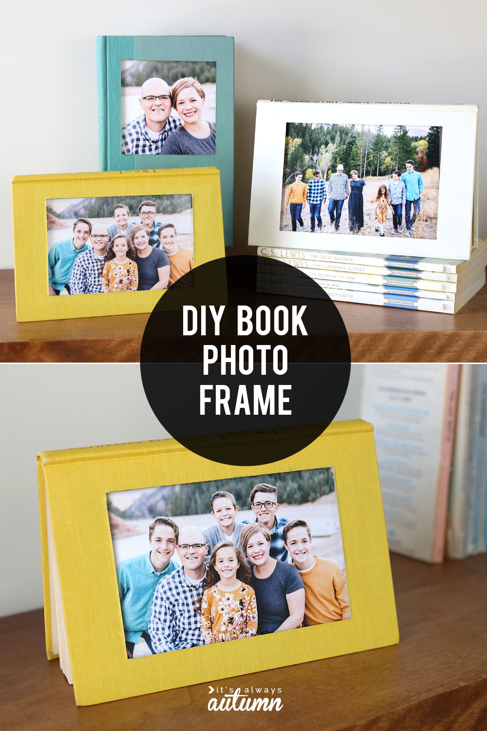 DIY book photo frames