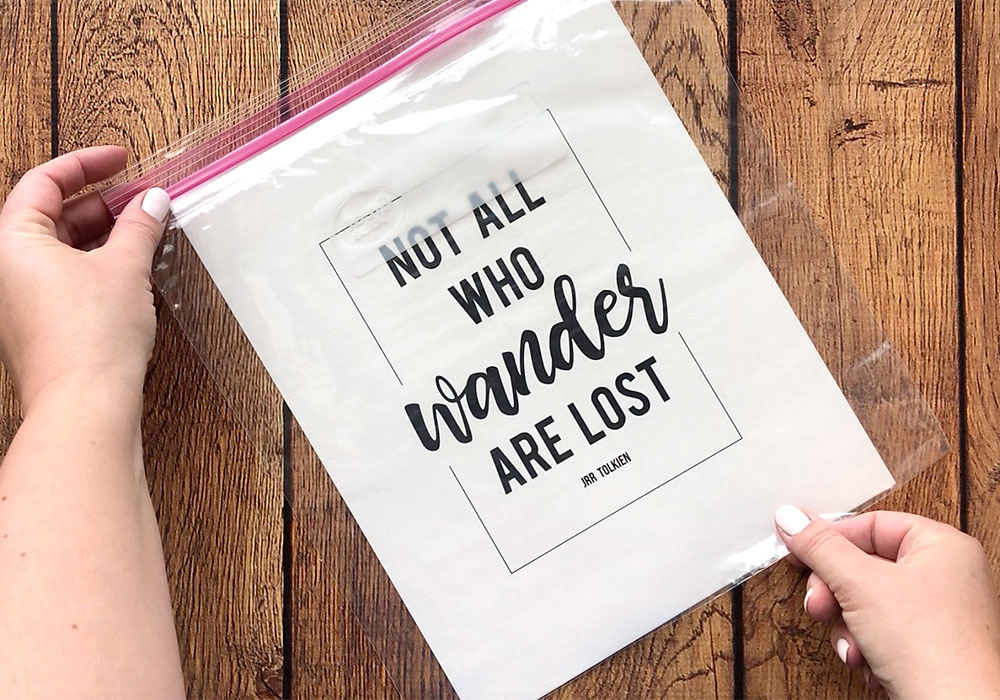 Printed quote with gallon size ziplock bag