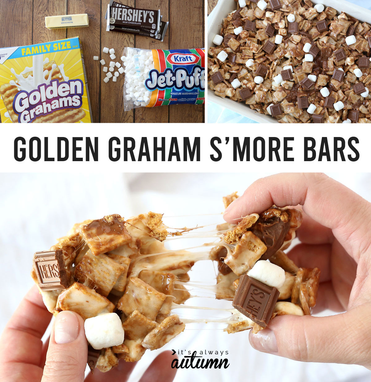 Chewy S'mores bars made with Golden Grahams, marshmallows, and milk chocolate