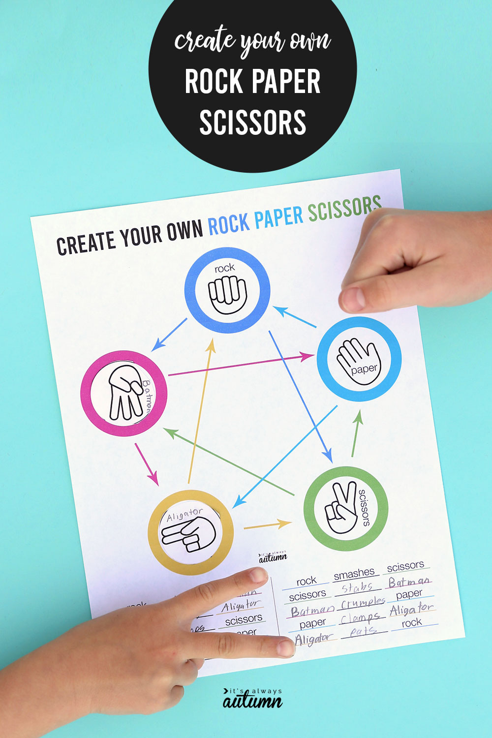 Create your own Rock Paper Scissors game printable