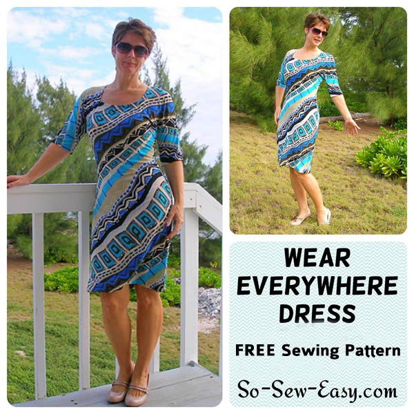 A woman wearing the wear everywhere dress free sewing pattern