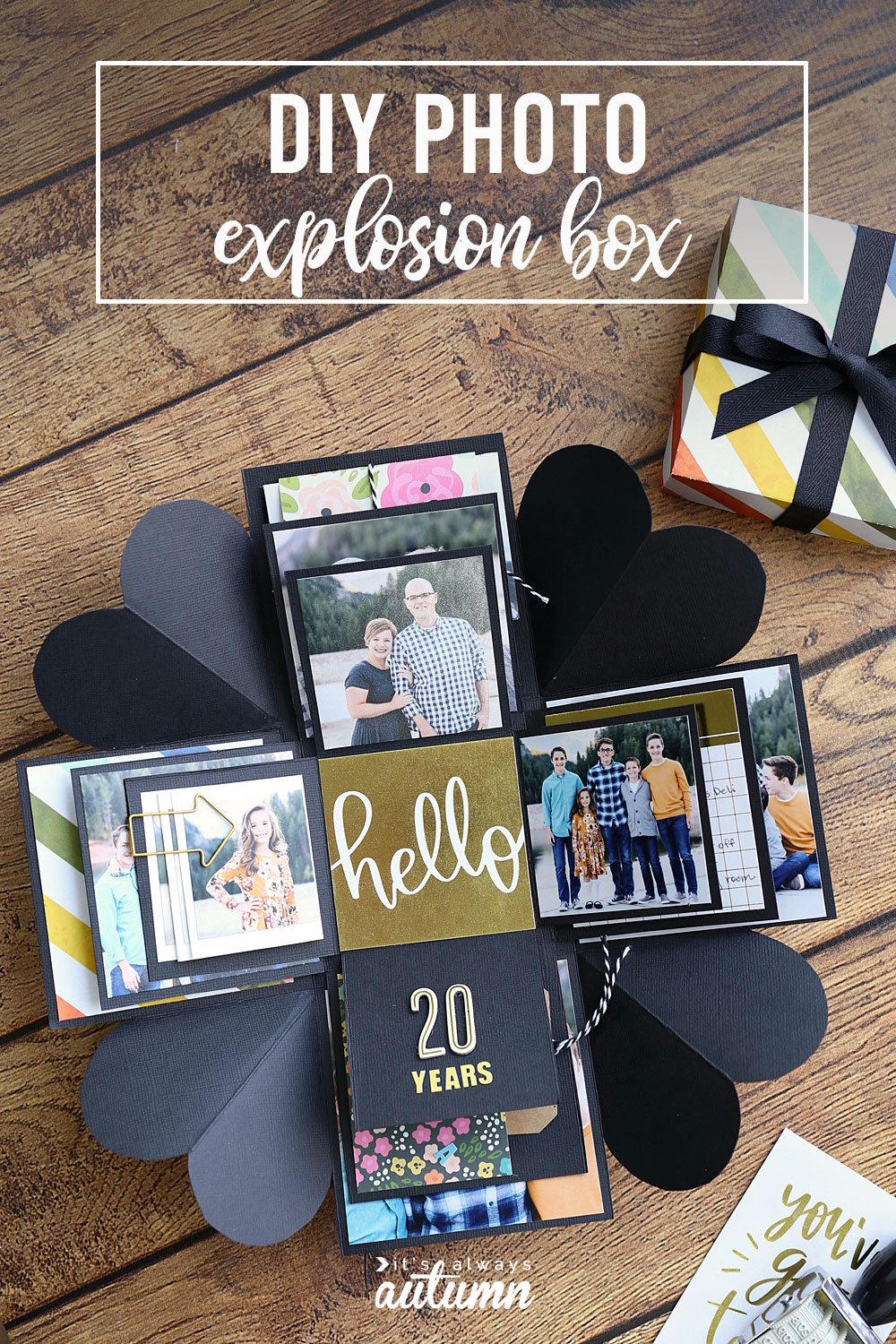 DIY photo explosion box that opens up when you take the lid off