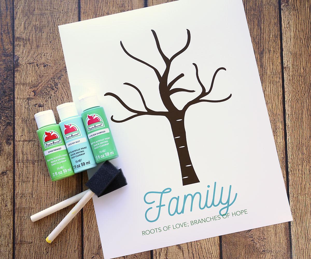 Family handprint tree printable art.