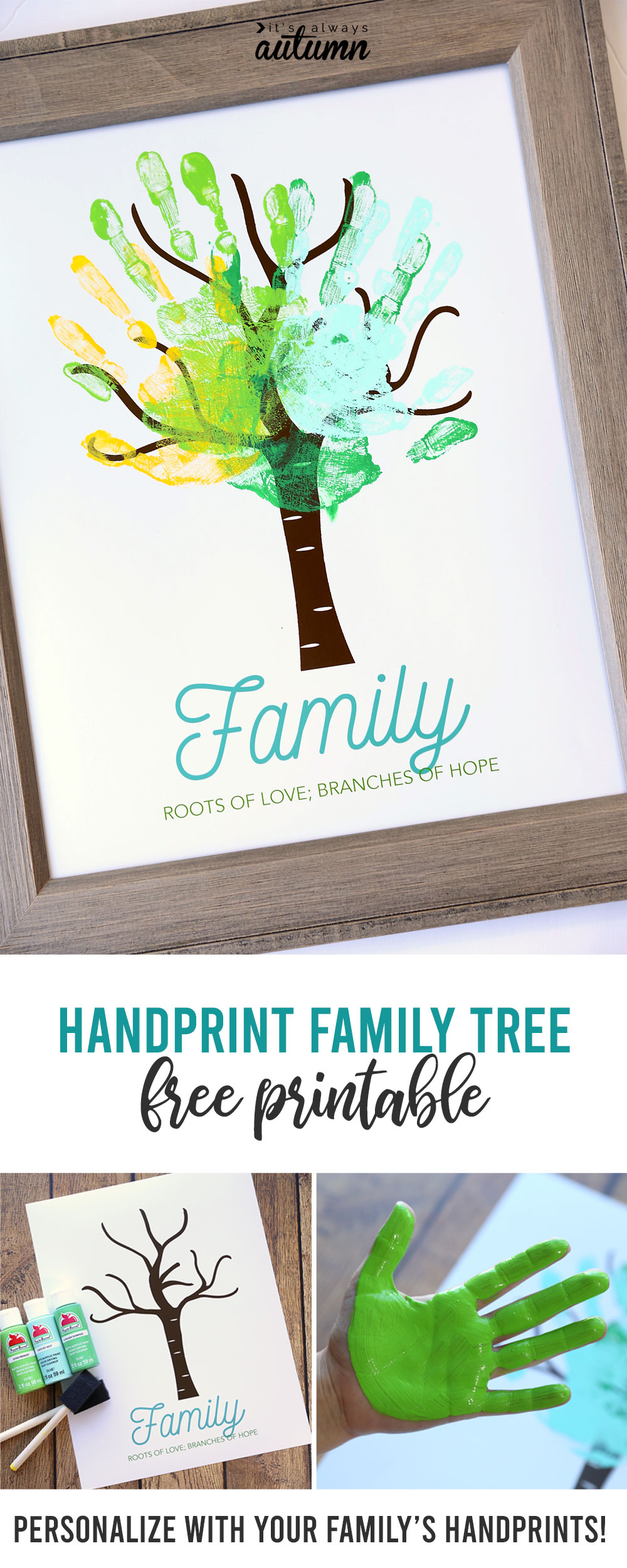 Family tree with handprints for the leaves