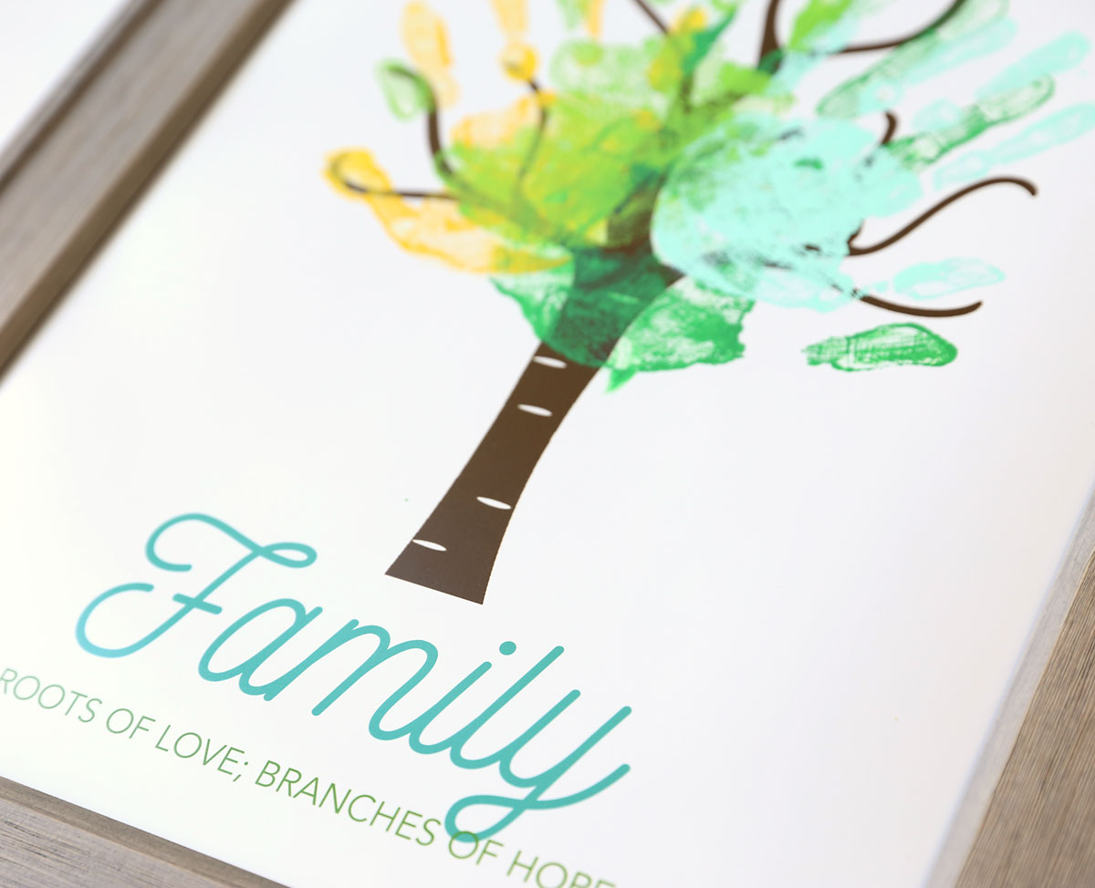 Family tree print with leaves made from handprints