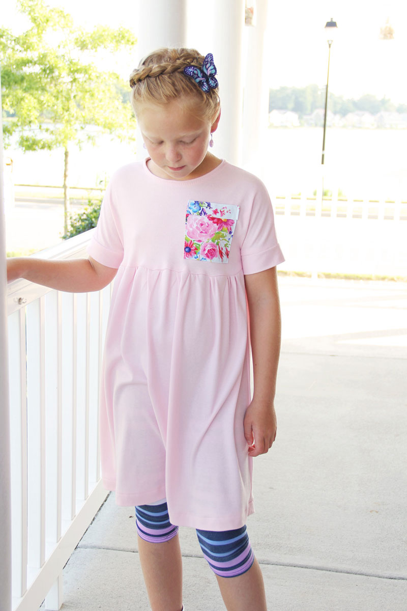 Girl modeling dress made from a free pattern