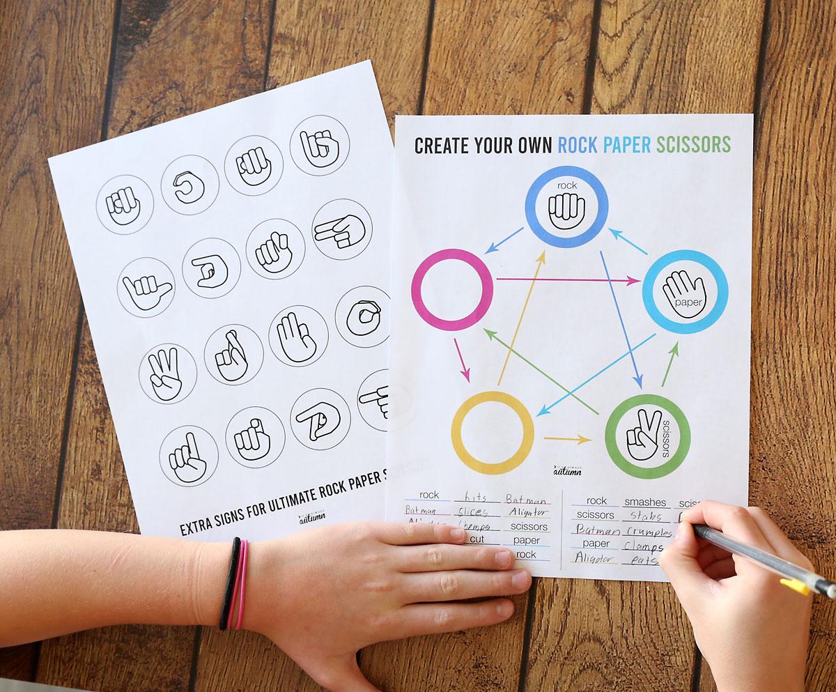 Create your own Rock Paper Scissors game printable worksheet