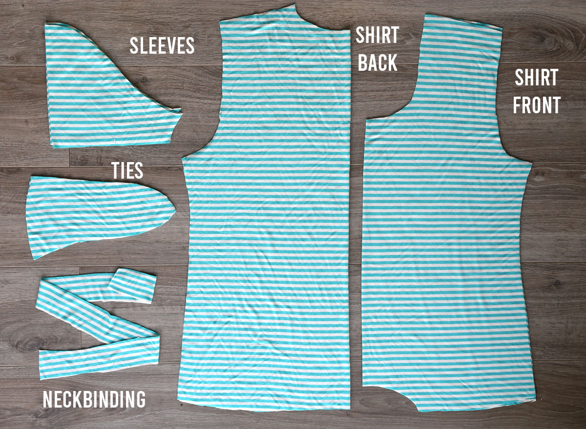 Pattern pieces for the waist tie t-shirt
