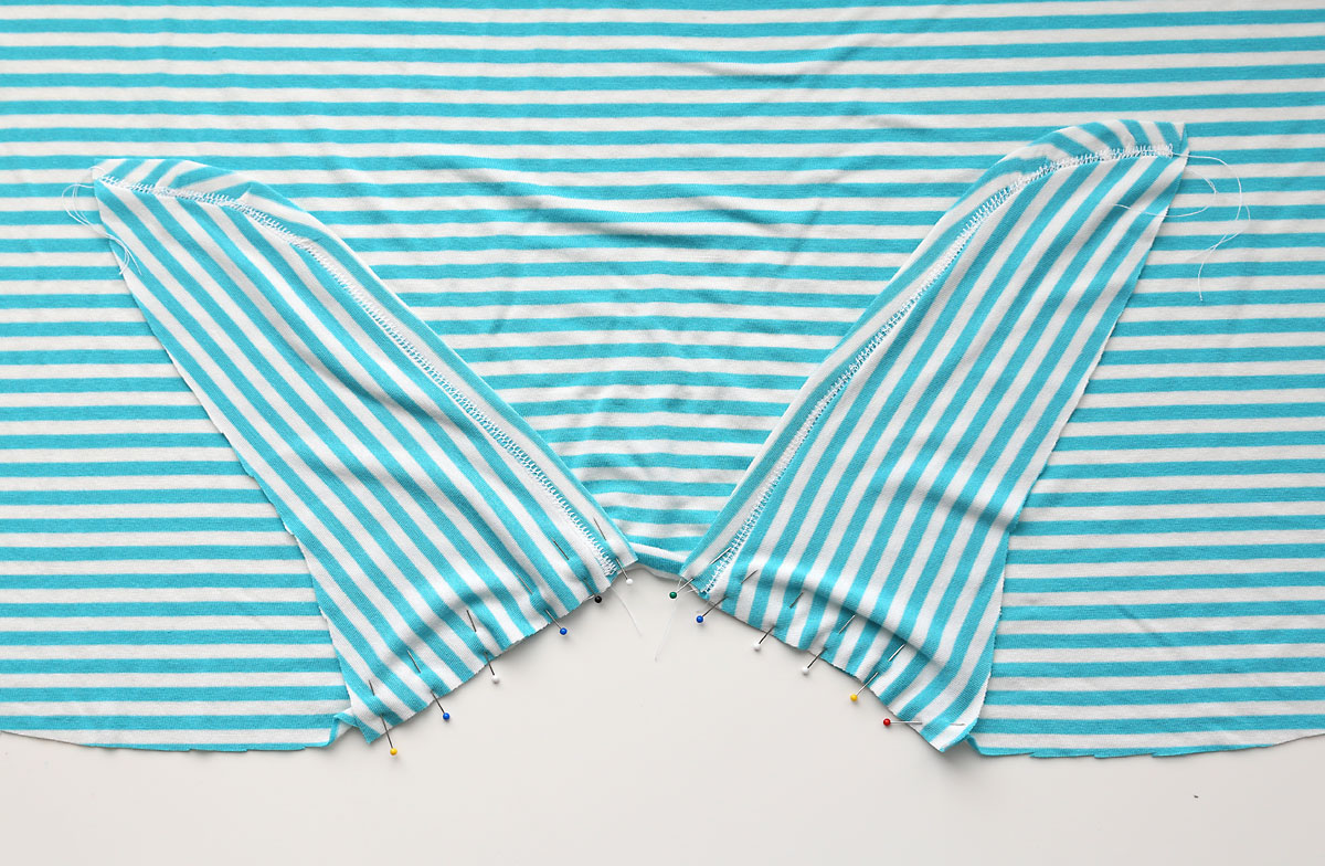 T-shirt front piece with both tie pieces pinned on