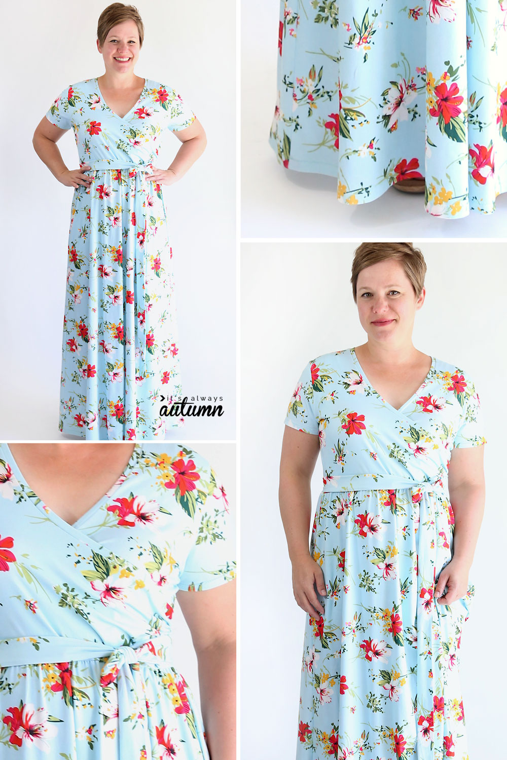 Collage of photos of a woman wearing a floral wrap maxi dress