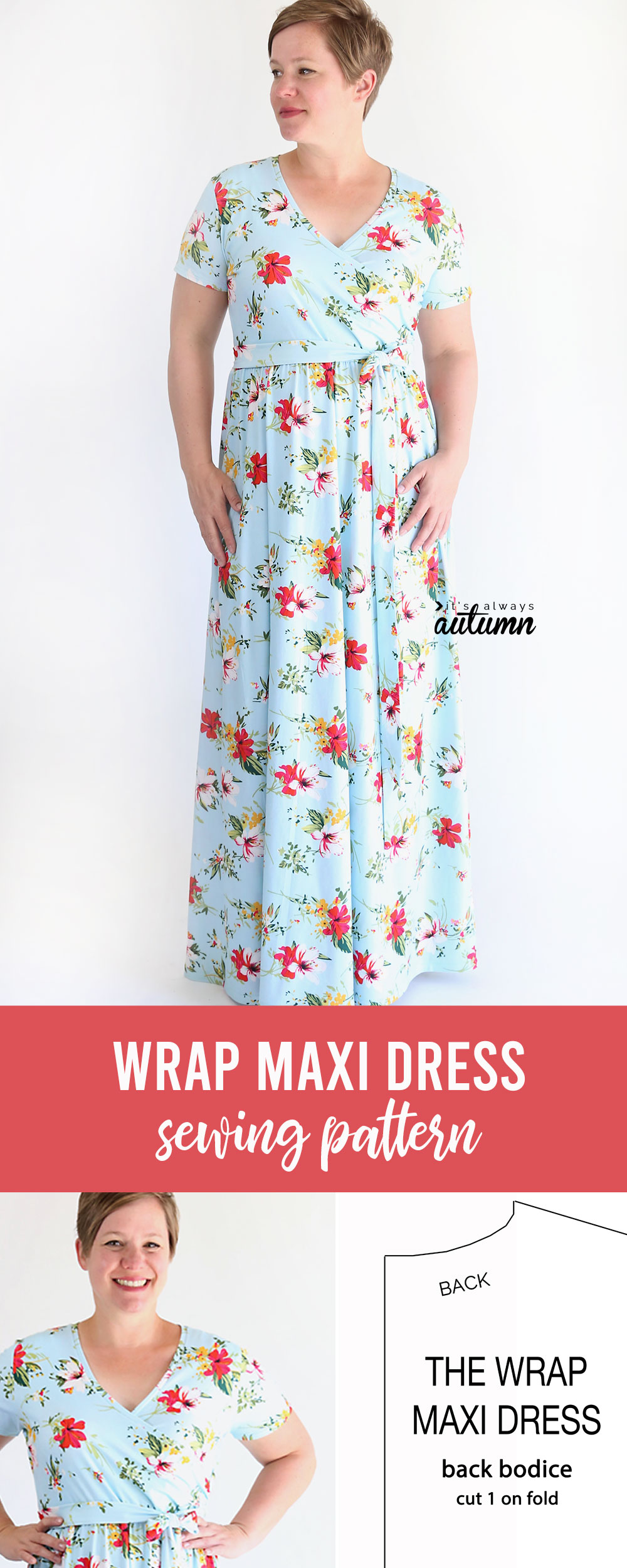 A woman wearing a wrap maxi dress and photo of a free sewing pattern