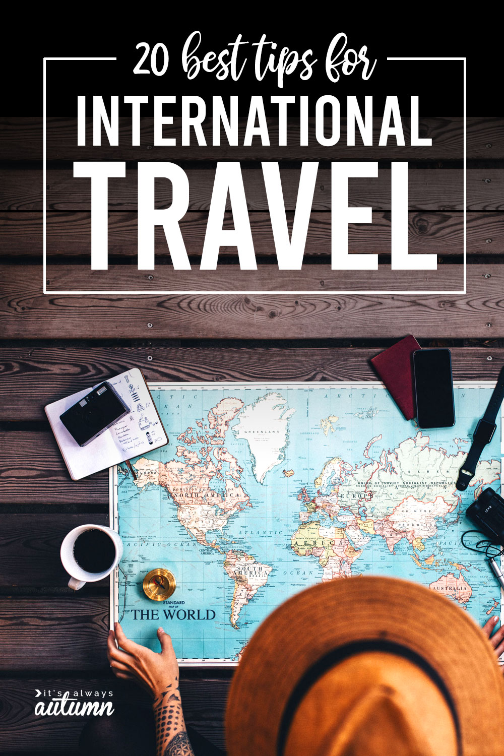 World map and travel items; 20 best tips for international travel