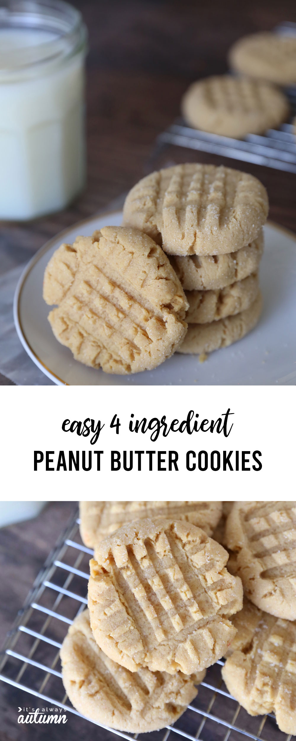 Easy four ingredient peanut butter cookies