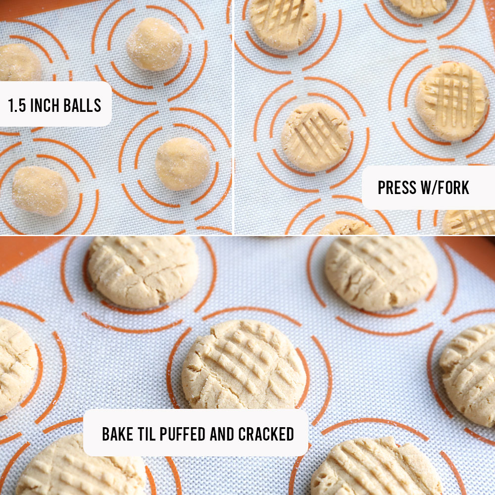 Peanut butter cookie dough balls on a cookie sheet; dough balls pressed down wit a fork; peanut butter cookies baked til puffed and cracked