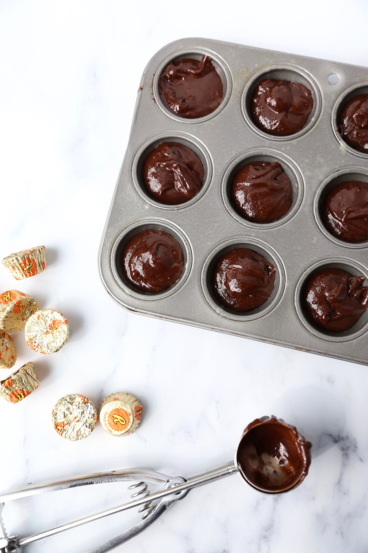 Peanut butter cup brownie bites: fill muffin cups 2/3 way full