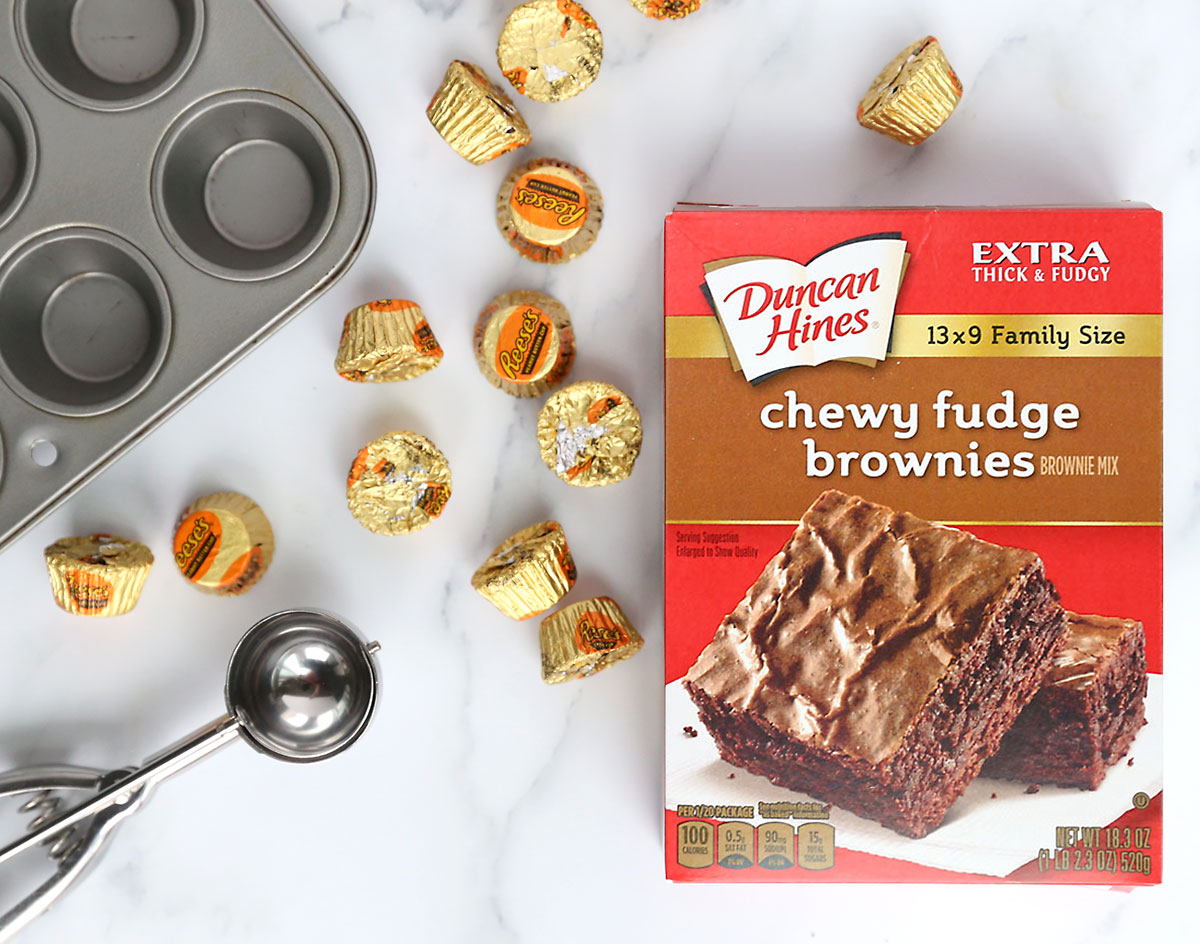 Peanut butter cup brownie bites made with brownie mix and Reese's peanut butter cups