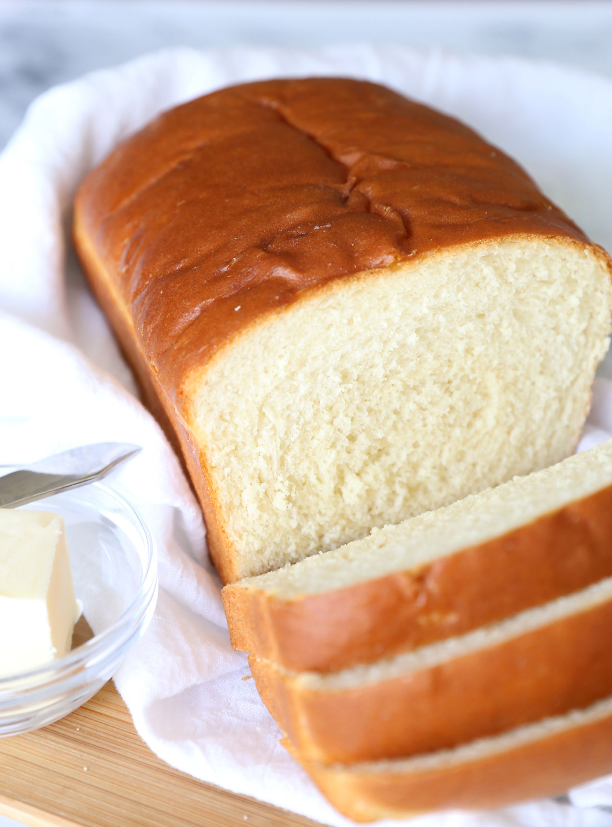 Loaf of homemade white bread