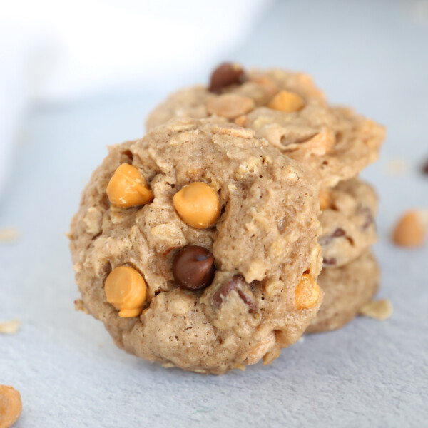 Oatmeal spice cake mix cookies with butterscotch and chocolate chips