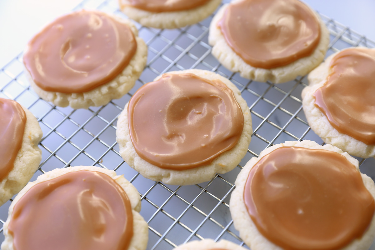 Cake mix cookies topped with caramel