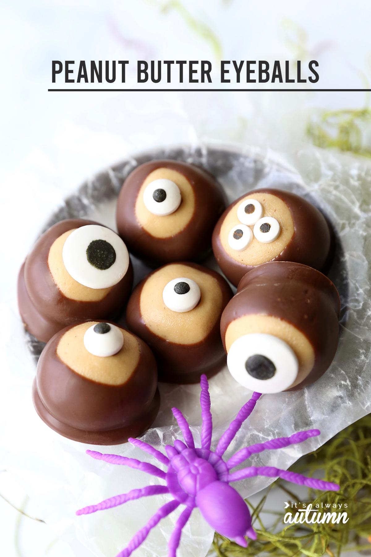 Peanut butter eyeballs are an easy Halloween treat!