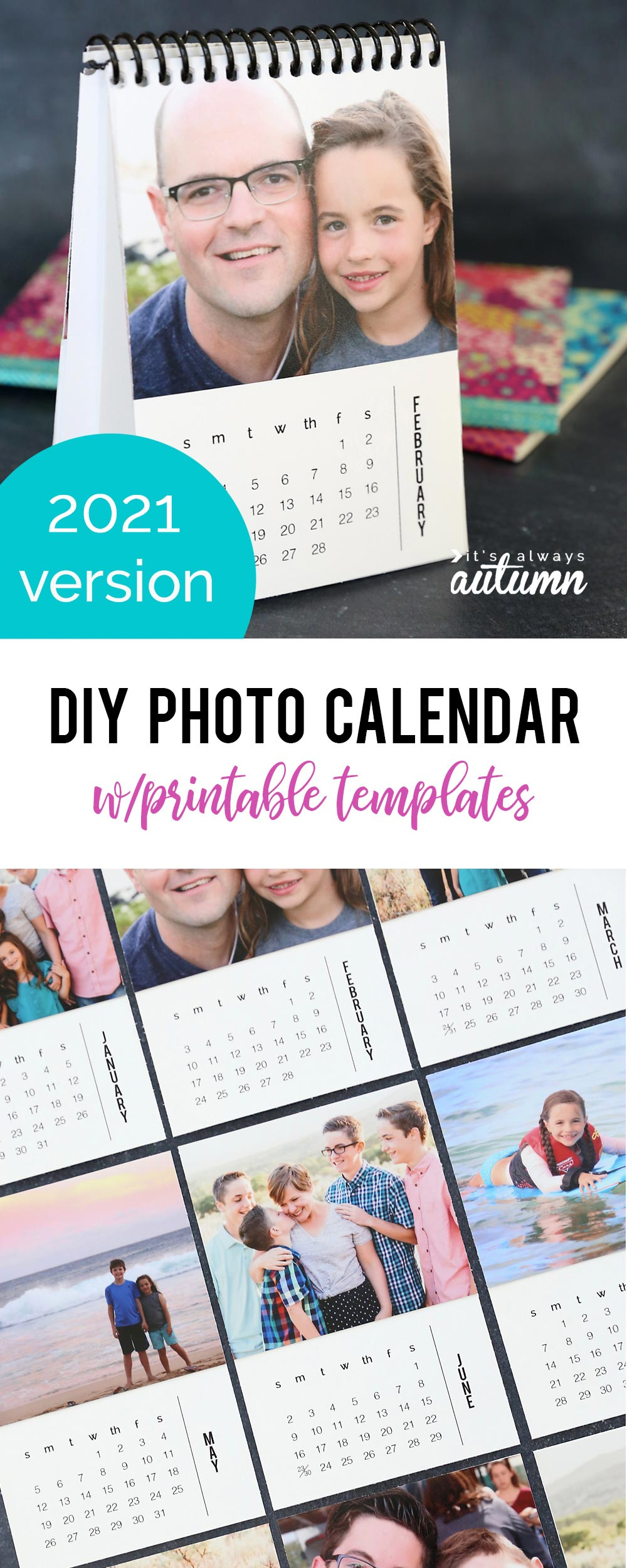 Mini photo calendar for 2021 that you can personalize with your own photos