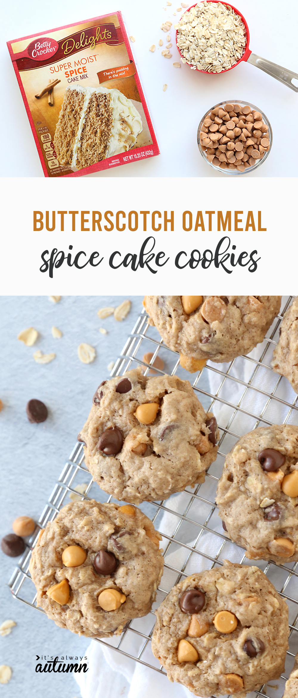 Butterscotch oatmeal spice cookies are crazy delicious!