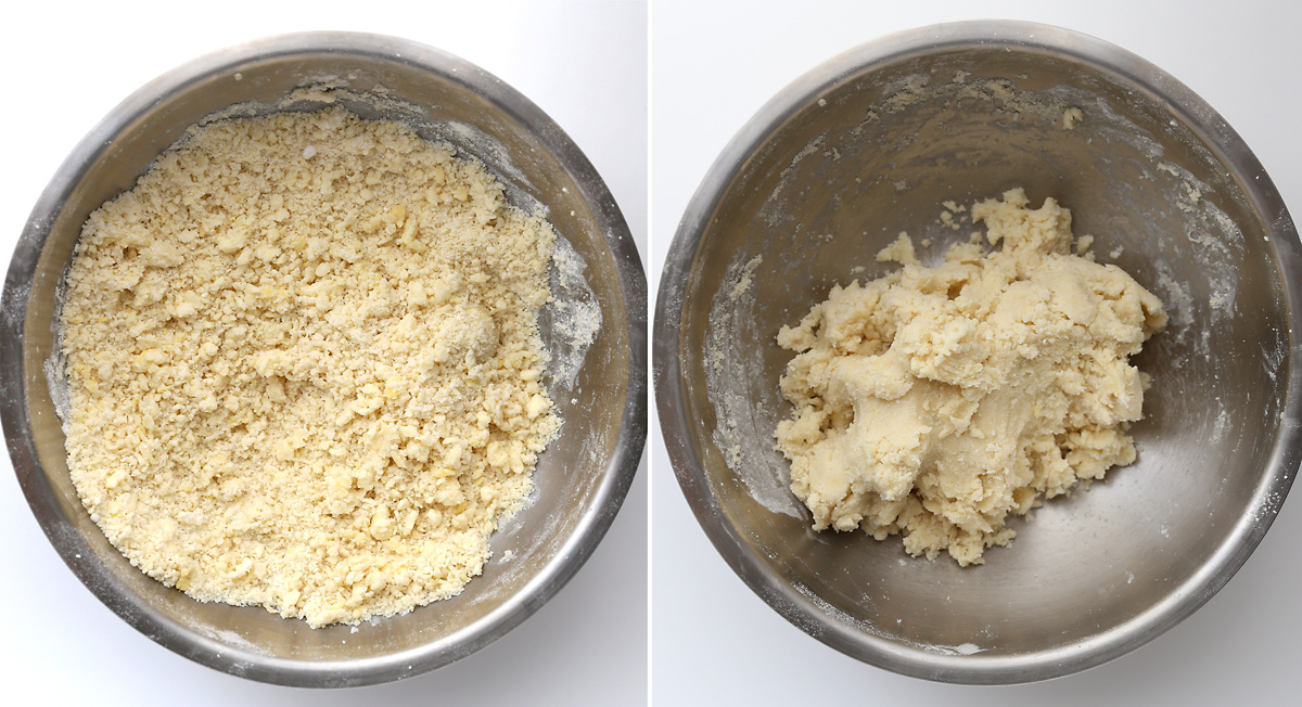 Crumbly cookie dough in a bowl; cookie dough that is sticking together in a bowl