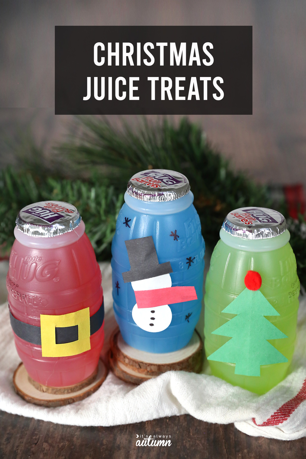 These adorable Christmas juice treats are an easy idea for classroom parties!