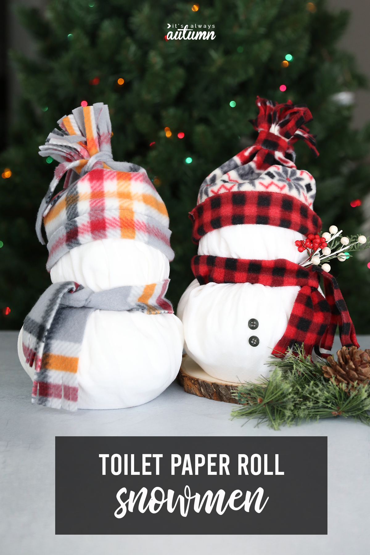 These adorable snowmen are made from rolls of toilet paper! Cute, easy Christmas craft.