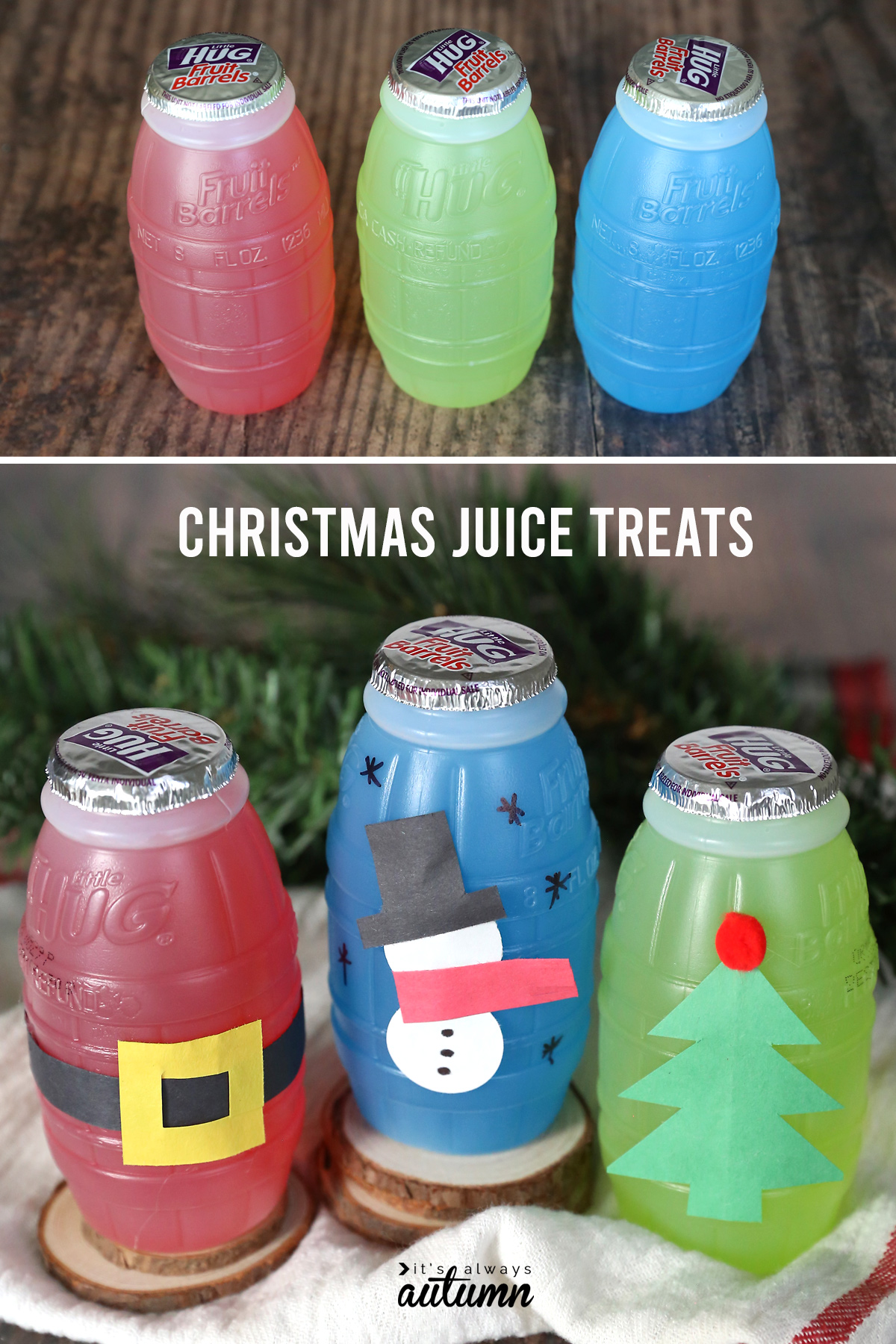 Red, green and blue juice treat jugs decorated with construction paper for Christmas