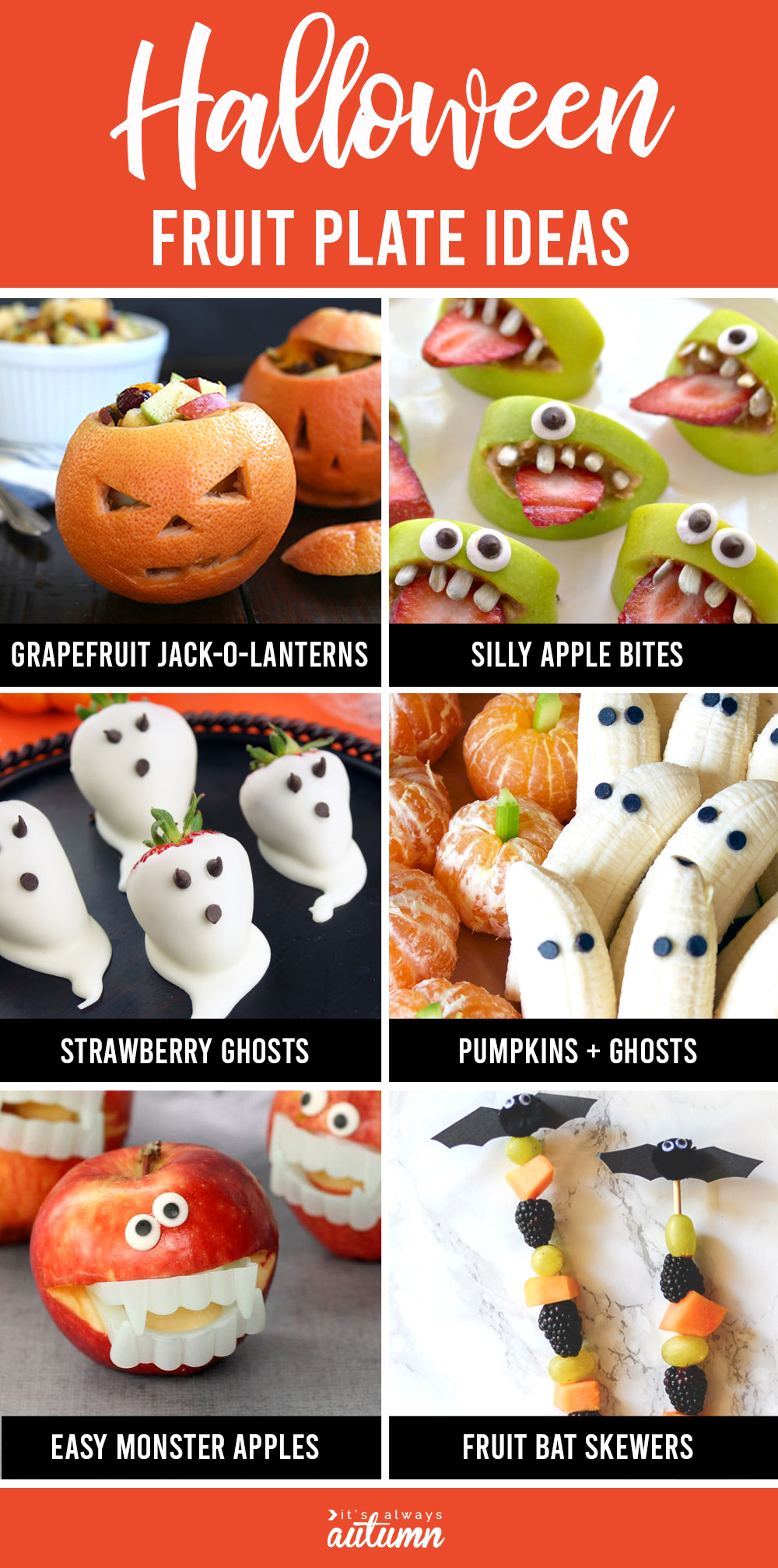 Healthy Halloween fruit plates