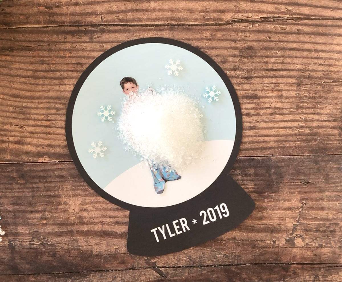 Epsom salt poured over center of snowglobe template