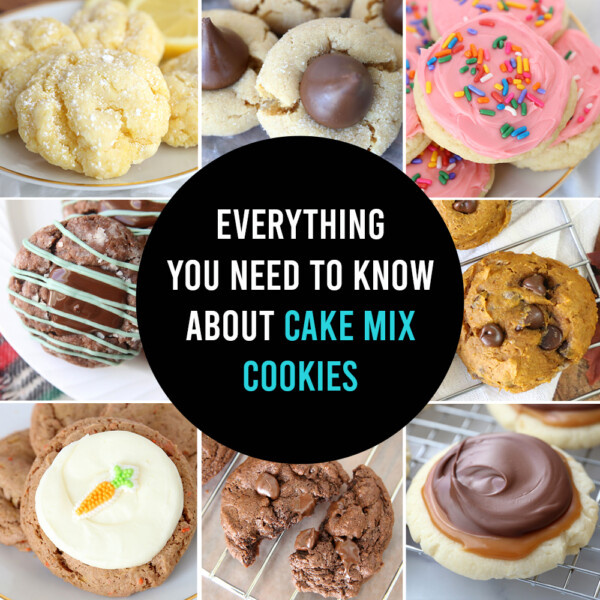 Collage photo of various types of cake mix cookies