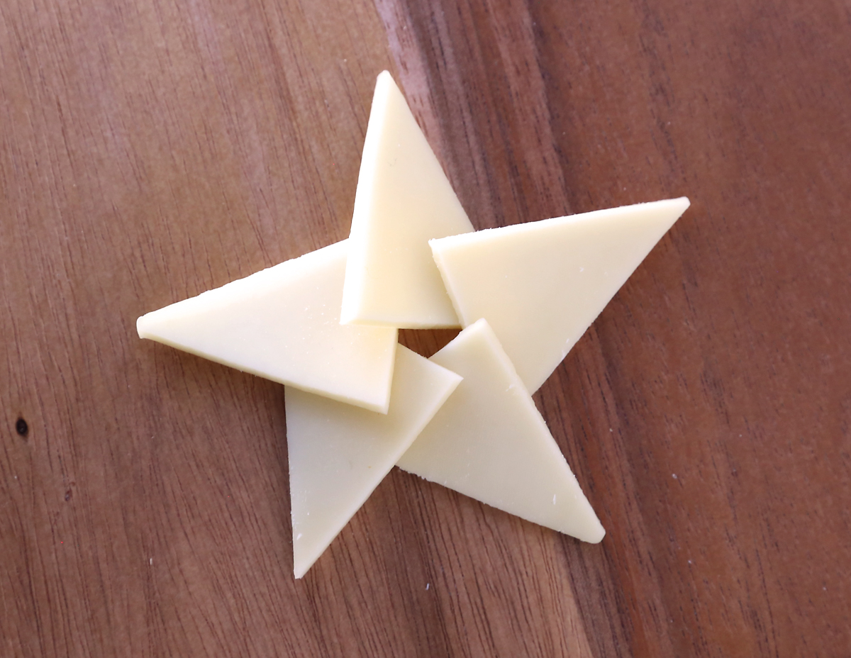 Cheese triangles arranged into star shape