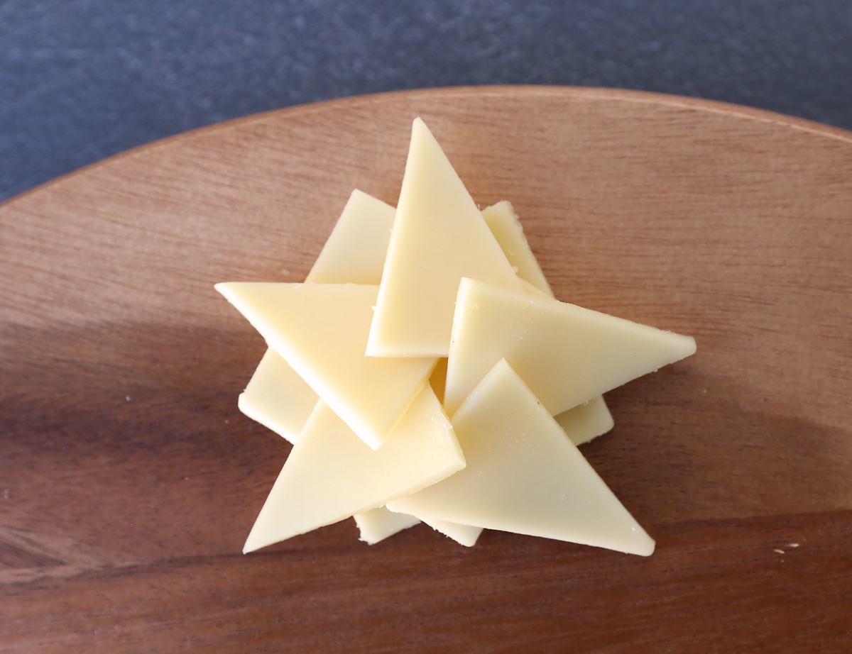 Cheese triangles layered into star shape