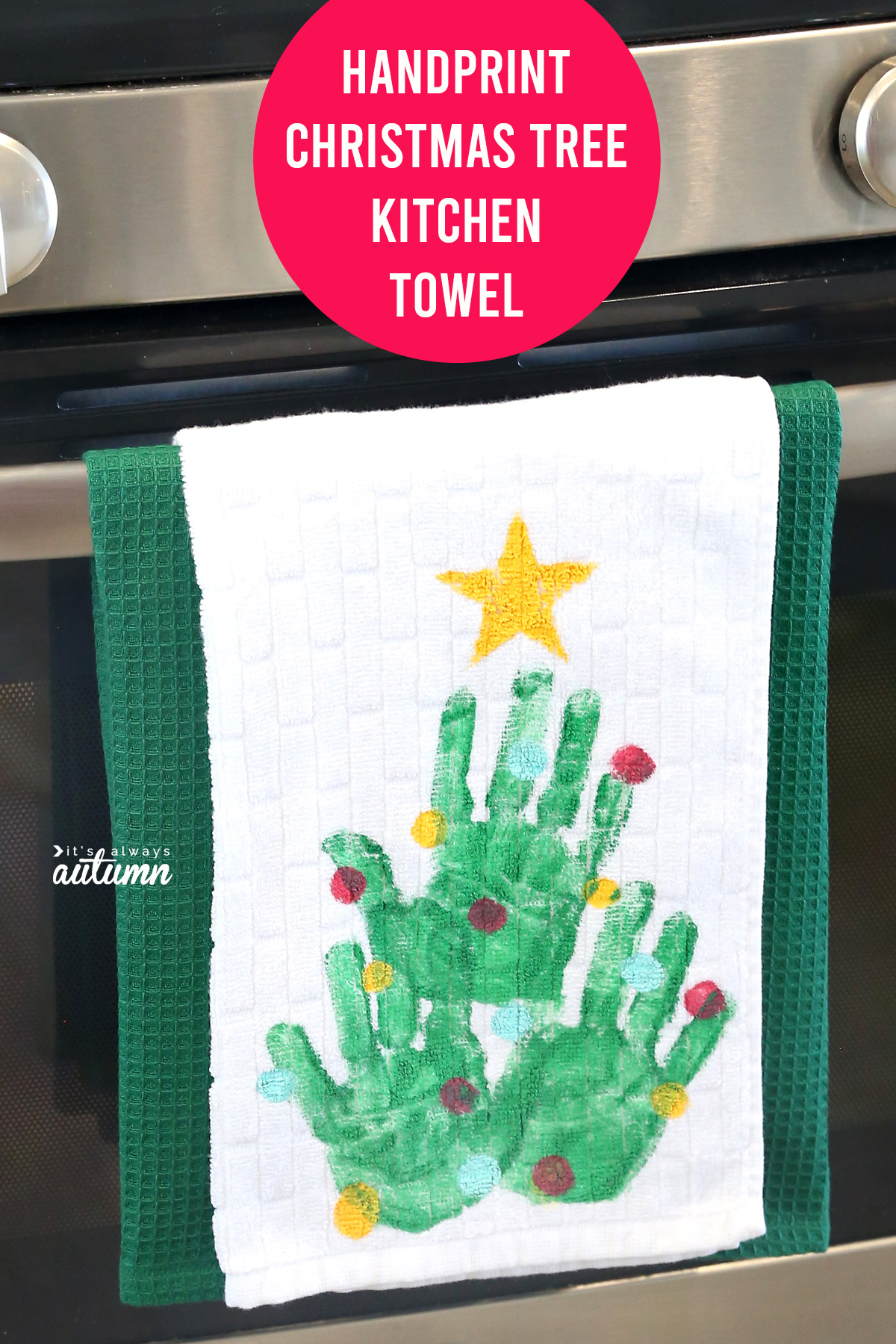 This adorable handprint Christmas tree kitchen towel makes a great gift for grandparents!