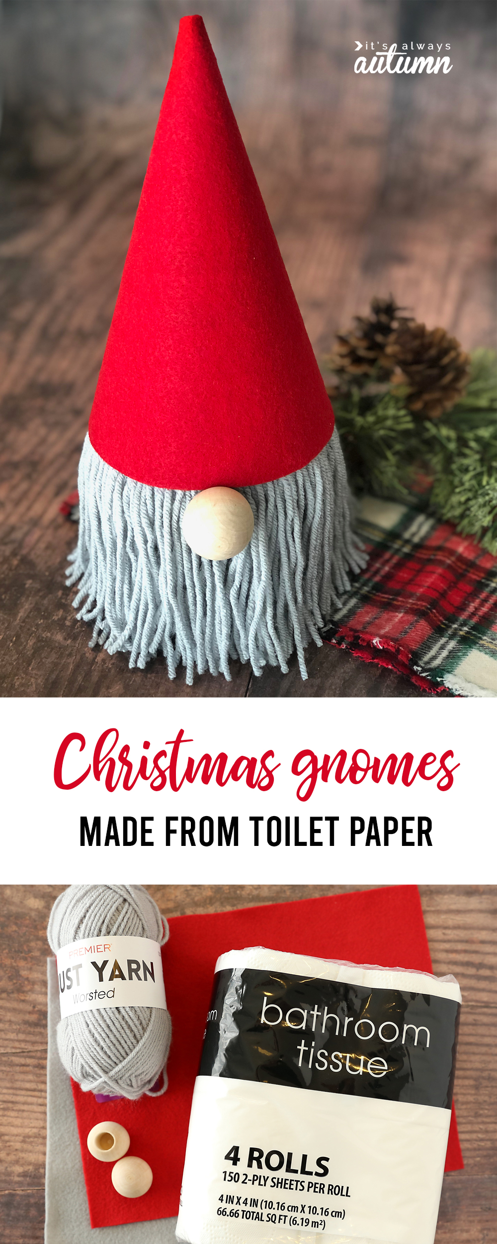 Christmas gnome made from toilet paper roll with yarn beard and red felt hat